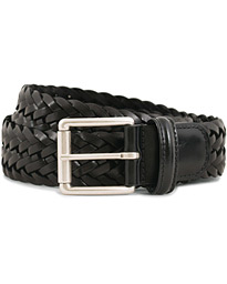 Woven Leather 3,5 cm Belt Tanned Black