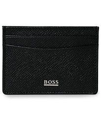 BOSS Signature Leather Credit Card Holder Black