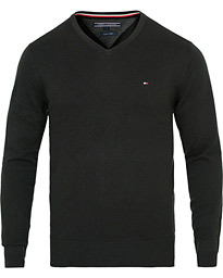 Cotton/Silk V-Neck Pullover Flag Black
