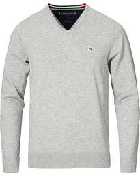 Cotton/Silk V-Neck Pullover Cloud Heather