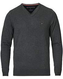 Cotton/Silk V-Neck Pullover Charcoal Heather