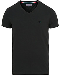 Tommy Hilfiger Slim Fit Stretch V-Neck Tee Flag Black