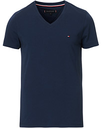 Tommy Hilfiger Slim Fit Stretch V-Neck Tee Navy Blazer