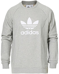 adidas Originals Trefoil Logo Crew Neck Sweatshirt Medium Grey Heather