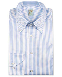 Stenströms 1899 Slimline Button Down Stripe Shirt White/Blue