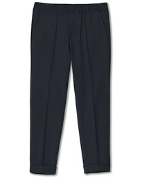 Filippa K Terry Gabardine Cropped Turn Up Trousers Navy