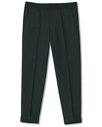 Filippa K Terry Gabardine Cropped Turn Up Trousers Dark Spruce