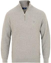 4e14ba84 GANT Herringbone Textured Half Zip Grey Melange