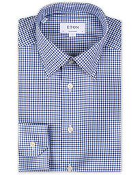 Eton Contemporary Fit Check Cut Away Shirt White/Blue
