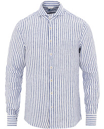 Stenströms Slimline Striped Linen Cut Away Shirt Blue
