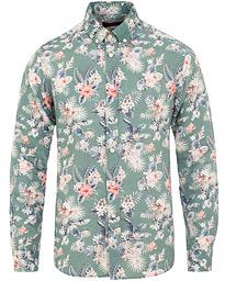 5d8aec40 Morris Bradley Printed Flower Linen Shirt Green