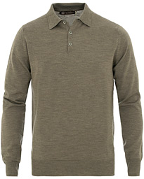 Morris Heritage Long Sleeve Polo Shirt Olive