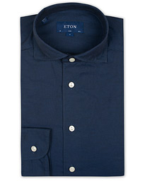 Slim Fit Twill Cotton Silk Shirt Blue