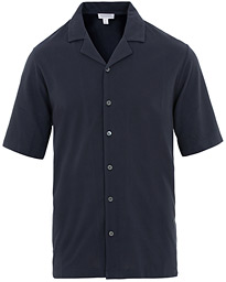 Sunspel Short Sleeve Pique Shirt Navy