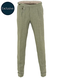 Morris Heritage Jason Pleated Turn Up Linen Trousers Green