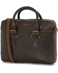 Morris Gene Leather Briefcase Dark Brown
