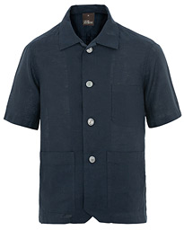 Oscar Jacobson Hanks Regular Linen Short Sleeve Shirt Navy