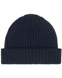 Drake's Lambswool Ribbed Hat Navy