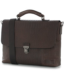 Oscar Jacobson Embossed Braid Leather Breifcase Dark Brown