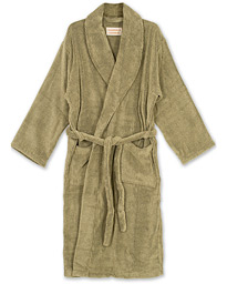 Cleverly Laundry Striped Cotton Terry Robe Faded Khaki