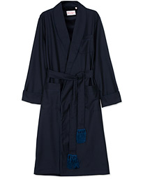 Derek Rose Pure Wool Dressing Gown Navy