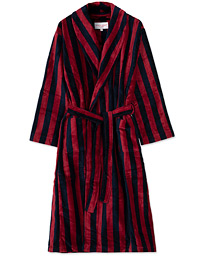 Derek Rose Cotton Velour Striped Gown Red/Blue