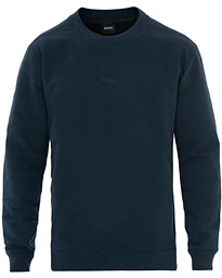 BOSS Casual Weevo Logo Crew Neck Sweatshirt Dark Blue