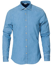 Stenströms Slimline Garment Washed Shirt Light Denim