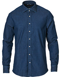 Stenströms Slimline Garment Washed Shirt Dark Denim