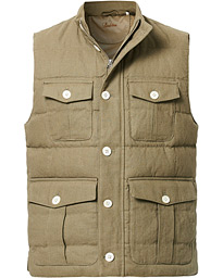 Stenströms Cotton/Linen Quilted Vest Green