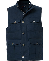Stenströms Cotton/Linen Quilted Vest Navy