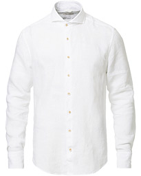Stenströms Slimline Linen Cut Away Shirt White