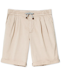 Brunello Cucinelli Cotton Drawstring Chino Shorts Light Beige