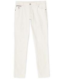 Brunello Cucinelli Slim Fit 5-Pocket Cotton Twill Pants Off White