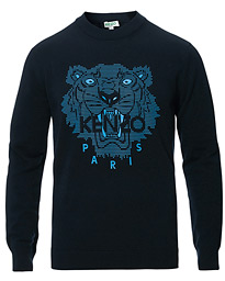 KENZO Tiger Rubber Print Crew Neck Jumper Navy