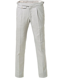 Incotex Slim Fit Pleated Super 100's Wool Trousers Light Grey