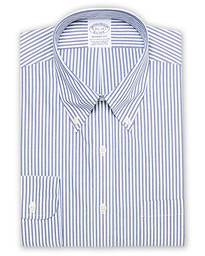 Brooks Brothers Regent Fit Non Iron Stripe Shirt Dark Blue