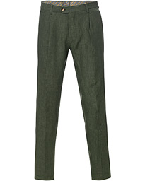 Etro Pleated Linen Trousers Forest Green