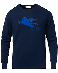 Etro Pegasus Logo Cotton Sweater Navy