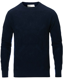 Etro Tonal Embroidery Knitted Sweater Dark Blue