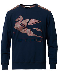Etro Pegasus Logo Cotton Sweatshirts Navy