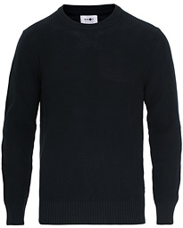 NN07 Knut Cotton Ribbed Crew Neck Navy