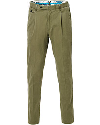 PT01 Slim Fit Pleated Cotton Trousers Olive Green