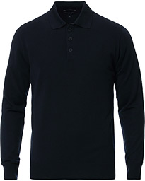Emporio Armani Knitted Long Sleeve Polo Navy