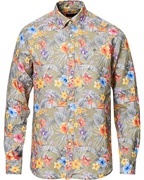 Morris Harvey Printed Flower Button Down Shirt Olive