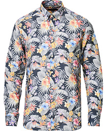Morris Harvey Printed Flower Button Down Shirt Navy