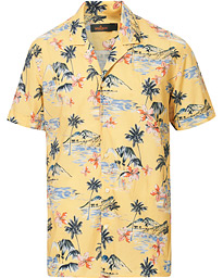 Morris David Bowling Printed Short Sleeve Shirt Yellow