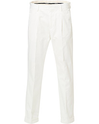 Morris Bernard Pleated Turn Up Trousers Off White