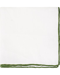Linen Paspoal Pocket Square White/Green