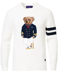 Ralph Lauren Purple Label Cashmere General Bear Sweater Optic White